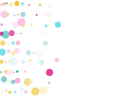 Memphis round confetti festive background in blue, pink and yellow on white.  Childish pattern vector, childrens party birthday celebration background.  Holiday confetti circles in memphis style. Ilustração