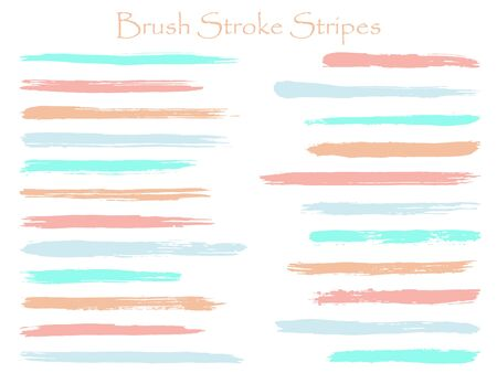 Futuristic ink brush stroke stripes vector set, pink blue marker or paintbrush lines patch. Hand drawn watercolor paint brushes, smudge strokes collection. Interior paint color palette swatches.