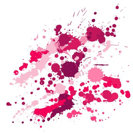 Watercolor paint stains grunge background vector. Funky ink splatter, spray blots, dirty spot elements, wall graffiti. Watercolor paint splashes pattern, smear liquid stains splatter backdrop.