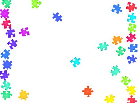 Game crux jigsaw puzzle rainbow colors pieces vector background. Top view of puzzle pieces isolated on white. Success abstract concept. Jigsaw match elements.
