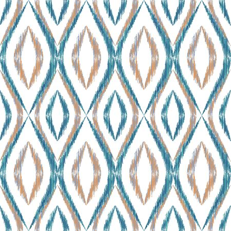 Ikat ogee seamless vector pattern design. Ethnic fabric print geometric ikat pattern. Modern ogee seamless repeating background. Tribal motifs ikat textile print design. Indian ornament.