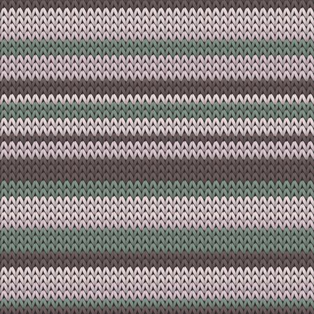 Closeup horizontal stripes knitted texture geometric seamless pattern. Carpet knit tricolor  fabric print. Fashionable seamless knitted pattern. Fabric canvas illustration. Vettoriali