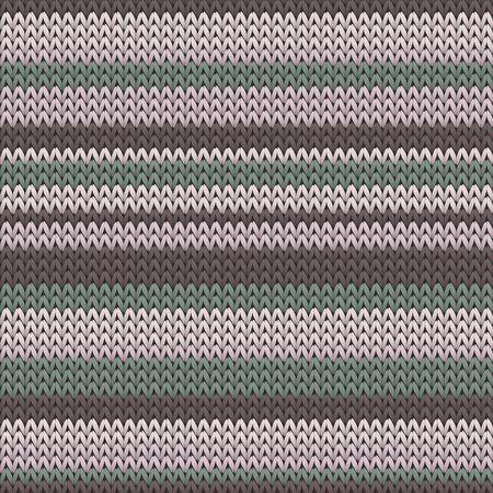 Closeup horizontal stripes knitted texture geometric seamless pattern. Carpet knit tricolor  fabric print. Fashionable seamless knitted pattern. Fabric canvas illustration. Ilustração