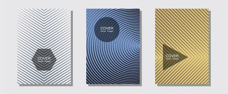 Banner graphics cool vector templates set. Divergent maquettes. Halftone lines music poster background. Simple book covers. Abstract banners graphic design with lined shapes.