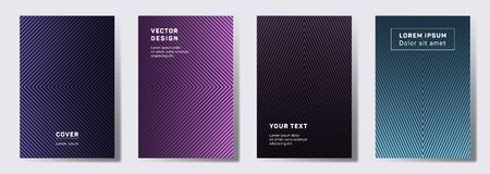 Trendy covers linear design. Geometric lines patterns with edges, angles. Abstract backgrounds for notepads, notice paper covers. Line shapes patterns, header elements. Annual report covers.  イラスト・ベクター素材
