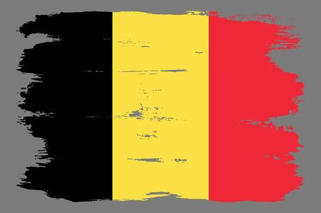 Belgian flag with tricolor stripes. Vector Belgian flag illustration with cool grunge texture. Vector flag of Belgium in official black yellow red colors with grunge texture.