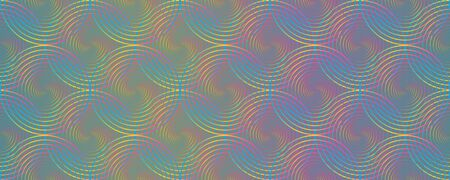 Rainbow holographic circles optical illusion seamless pattern vector graphic design. Rainbow hologram gradient circles texture, round lines seamless abstract neon blue pink yellow background pattern