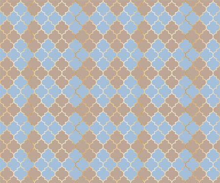 Eastern Mosque Vector Seamless Pattern. Argyle rhombus muslim textile background. Traditional Ramadan pattern with gold grid. Chic islamic argyle seamless design of lantern lattice shape tiles.