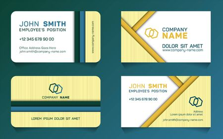Stylish business card minimal idea vector templates set. Cool business card graphic design