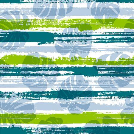 Tropical monstera philodendron liana hole leaves over painted stripes seamless pattern design. Hawaiian jungle foliage swimwear textile print. Tropical leaves and stripes seamless.  イラスト・ベクター素材