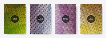 Zig zag lines halftone banner templates set, gradient stripes texture vector backgrounds for   booklet covers. Abstract zig zag gradient line stripes composition. Corporate folders design.