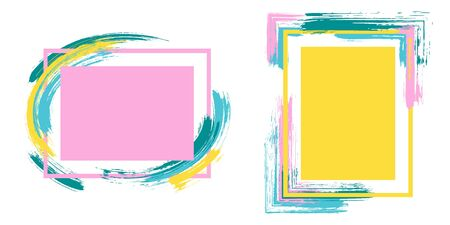 Grunge frames with paint brush strokes vector set. Box borders with painted brushstrokes backgrounds. Educational graphics design empty frame templates for banners, flyers, posters, cards.  イラスト・ベクター素材