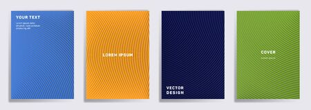 Futuristic cover templates set. Radial semicircle geometric lines patterns. Gradient backgrounds for notepads, notice paper covers. Line shapes patterns, header elements. Cover page layouts set.