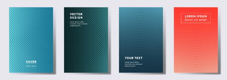 Colored cover templates set. Geometric lines patterns with edges, angles. Digital backgrounds for catalogs, corporate brochures. Line shapes patterns, header elements. Cover page templates.  イラスト・ベクター素材