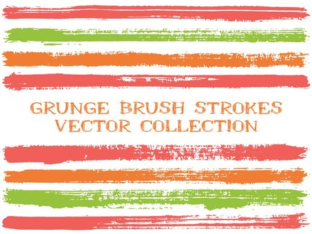 Long ink brush strokes isolated design elements. Set of paint lines. Grungy stripes, textured paintbrush stroke shapes. Ink brush stripes isolated on white, vector wall paint samples set.  イラスト・ベクター素材
