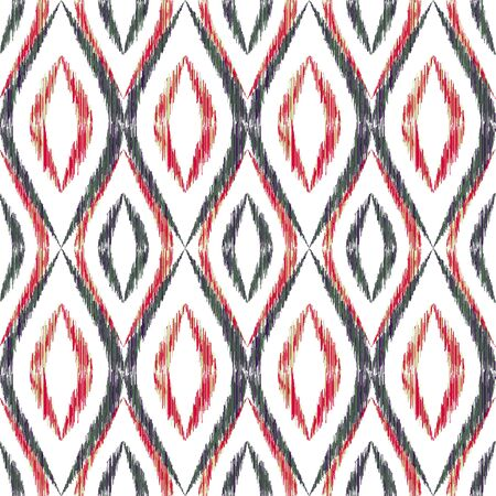 Ikat ogee seamless vector pattern design. Ethnic fabric print geometric ikat pattern. Cool ogee seamless repeating background. Tribal motifs ikat textile print design. Aztec ornament.  イラスト・ベクター素材