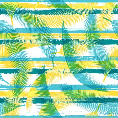 Organic coconut palm leaves tree branches overlapping stripes vector seamless pattern. Bali jungle foliage clothing fabric print. Tropical leaves and stripes seamless.