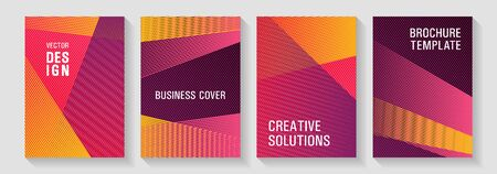 Geometric shapes line texture templates. Fashionable branding covers design set. Educational certificates concept. Digital stylish outlet backdrops. Editable web landing page graphics.