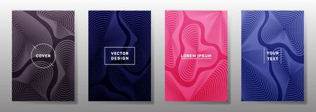 Flat cover templates set. Fluid curve shapes geometric lines patterns. Halftone backgrounds for notepads, notice paper covers. Lines texture, header title elements. Cover page templates.