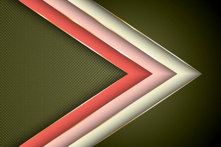 Polygonal arrow with gold triangle edge lines banner vector design. Glamour banner background template. Multi layers paper cut material design. Futuristic cover graphic design.