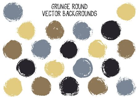 Vector grunge circles. Cool watercolor stamp texture circle scratched label backgrounds.