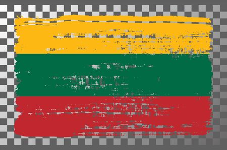 Lithuanian national flag isolated vector illustration. Travel map design graphic element. Europe county symbol. Lithuanian flag icon with grunge texture. Flat flag of Lithuania with tricolor stripes.