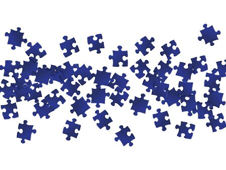 Business crux jigsaw puzzle dark blue parts vector illustration. Group of puzzle pieces isolated on white. Teamwork abstract concept. Jigsaw gradient plugins. Çizim