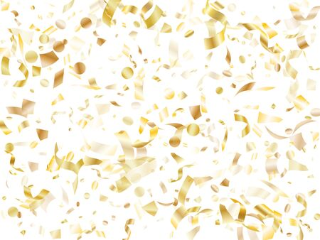 Gold shiny realistic confetti flying on white holiday poster background. Trendy flying sparkle elements, gold foil texture serpentine streamers confetti falling festive vector.