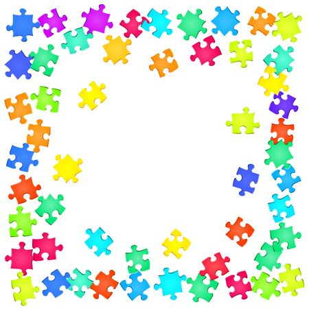 Game mind-breaker jigsaw puzzle rainbow colors parts vector illustration. Group of puzzle pieces isolated on white. Teamwork abstract concept. Jigsaw gradient plugins.