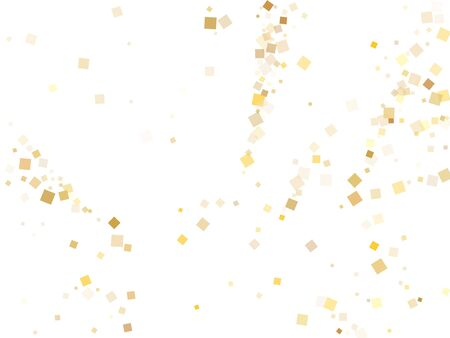 Trendy gold confetti sequins tinsels falling on white. Chic Christmas vector sequins background. Gold foil confetti party glitter pattern. Overlay particles invitation backdrop. Ilustração