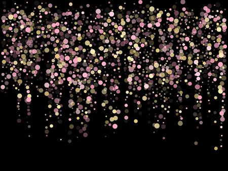 Pink gold confetti circle decoration for Christmas card. Bokeh lights effect vector. Gold, pink and rose color round confetti dots, circles scatter on black. Fashionable bokeh background. Banco de Imagens - 132231315