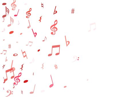 Red flying musical notes isolated on white backdrop. Fresh musical notation symphony signs, notes for sound and tune music. Vector symbols for melody recording, prints and back layers.