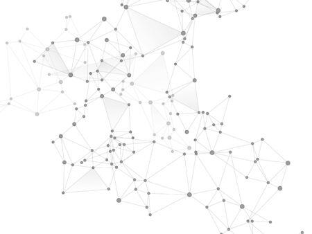 Wissenschaftliches Konzept der Big Data Cloud. Graustufen-Plexus-Hintergrund der Netzwerkknoten. Grafiken zur Informationsanalyse. Tech-Vektor-Big-Data-Visualisierung Cloud-Struktur. Fraktale Hub-Knoten, die durch Linien verbunden sind.