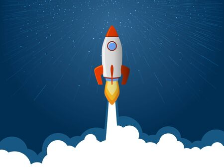Rocket spaceship launch to stars into the blue sky space. Fire flame and smoke path. Business start up concept. Red white rocket shuttle launch, spaceship flight vector illustration. Rocket flying.