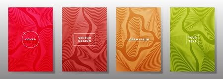 Simple covers linear design. Fluid curve shapes geometric lines patterns. Abstract backgrounds for catalogues, business magazine. Line shapes patterns, header elements. Cover page templates.