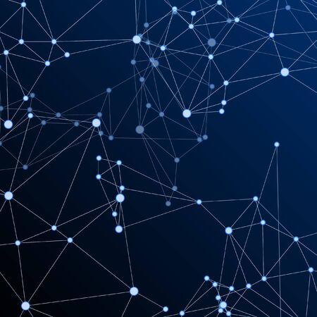 Big data cloud scientific concept. Network nodes plexus dark blue background. Tech vector big data visualization cloud structure. Future perspective backdrop. Interlinkes nodes cells random grid.