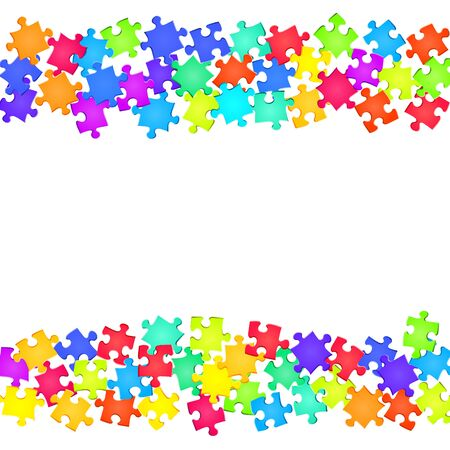 Abstract tickler jigsaw puzzle rainbow colors parts vector illustration. Top view of puzzle pieces isolated on white. Teamwork abstract concept. Game and play symbols. Ilustrace