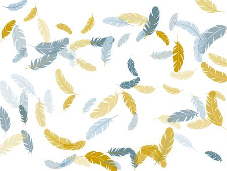 Cool silver gold feathers vector background. Fluffy twirled feathers on white design. Plumage fluff dreams symbols. Decoration confetti of carnival plumelet.