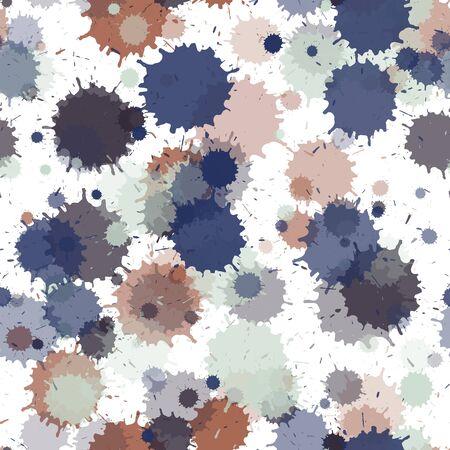 Watercolor paint transparent stains vector seamless grunge background. Random ink splatter, spray blots, dirty spot elements seamless. Watercolor paint splashes pattern, smear fluid splats.