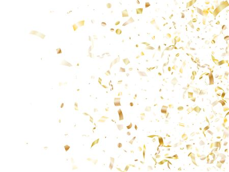 Gold glowing confetti flying on white holiday vector backdrop. Cool flying sparkle elements, gold foil texture serpentine streamers confetti falling anniversary background.