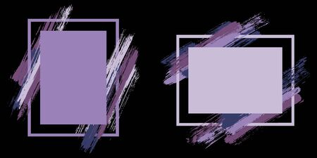Advert frames with paint brush strokes vector collection. Box borders with painted brushstrokes on black. Advertising graphics design flat frame templates for banners, flyers, posters, cards. Illusztráció