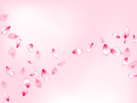 Spring tree flowers parts, airy flying petals on rose color background. Bloom 3d particles. Pastel pink blossom petals floral design. Pink sakura blossom falling parts romantic vector.