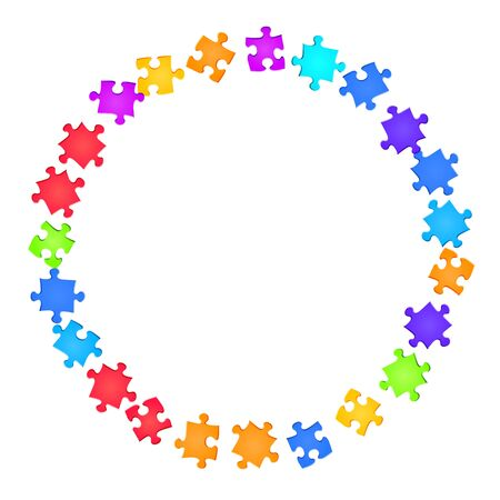 Game conundrum jigsaw puzzle rainbow colors parts vector illustration. Top view of puzzle pieces isolated on white. Cooperation abstract concept. Jigsaw gradient plugins.