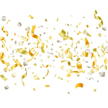 Golden on white shiny holiday realistic confetti flying vector background. VIP flying tinsels, foil texture serpentine streamers, sparkles, confetti falling carnival background.