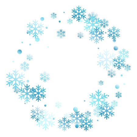 Winter snowflakes and circles border vector graphics. Unusual gradient snow flakes isolated banner background. New Year 2019 card border pattern template with falling snowflake elements isolated.