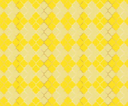 Islamic Mosque Vector Seamless Pattern. Argyle rhombus muslim fabric background. Traditional mosque pattern with gold grid. Rich islamic argyle seamless design of lantern lattice shape tiles.