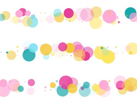 Memphis round confetti vintage background in blue, magenta and gold on white.  Childish pattern vector, childrens party birthday celebration background.  Holiday confetti circles in memphis style. Çizim