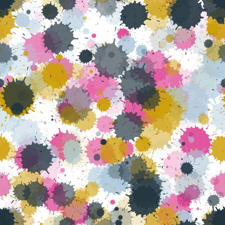 Watercolor paint transparent stains vector seamless grunge background. Colored ink splatter, spray blots, dirty spot elements seamless. Watercolor paint splashes pattern, smear liquid stains.