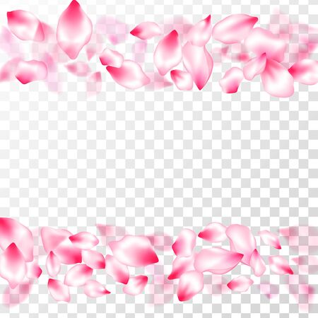 Spring blossom isolated petals flying on transparent background. Japanese cherry flower parts falling vector pattern. Spring or summer light flower petals illustration. Garden bloom parts. Illusztráció