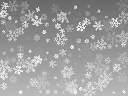Snow flakes falling macro vector illustration, christmas snowflakes confetti falling chaotic scatter card. Winter snow shapes decor. Motion flakes falling and flying winter seasonal weather vector. Çizim
